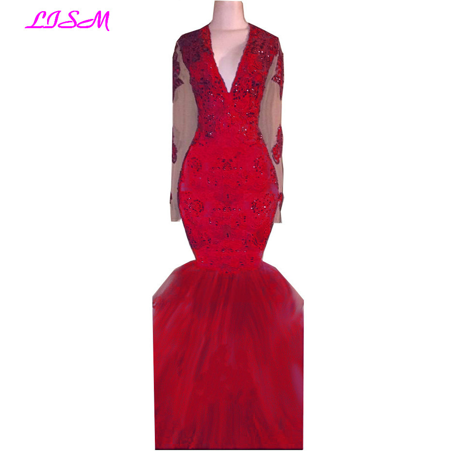 Sexy Deep V-Neck Mermaid Evening Dresses Lace Beaded Long Sleeves Prom Party Gowns Sheer Back Bodice Tulle Pageant Formal Dress