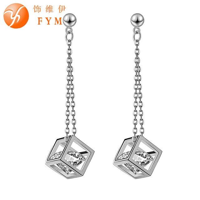 New Luxury Silver Color Bridal Drop Earrings Square Crystal Zircon Dangle  Long Earring Ear Jewelry Gift c6c0d8008493