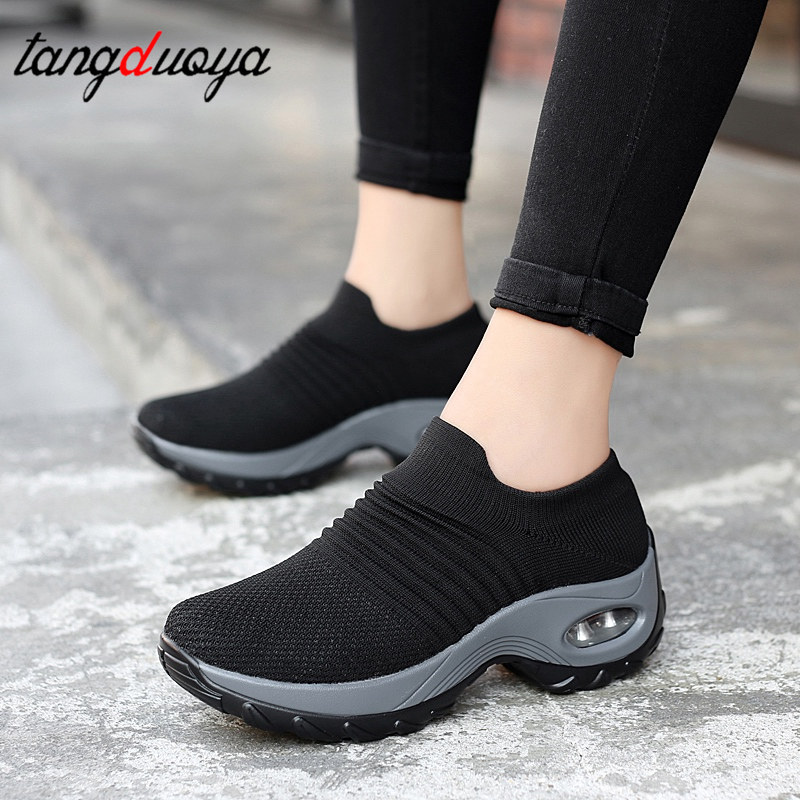 Platform Shoes Sock Shoes Women Sneakers Casual Shoes Platform Sneakers For Women Breathable Mesh Sock Sneakers Tenis Feminino