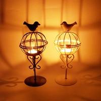 1pcs Bird Cgae Candle Holder Vintage Metal Craft Iron Candlestick Candle Lantern Europe Style Home Garden