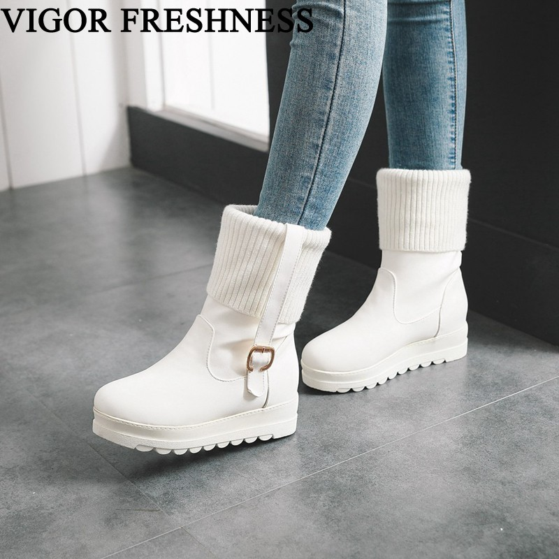 VIGOR FRESHNESS Winter Shoes Women Boots Height Increasing Shoes Woman Ankle Boots Platform Shoes Autumn Knitting Boots MY59VIGOR FRESHNESS Winter Shoes Women Boots Height Increasing Shoes Woman Ankle Boots Platform Shoes Autumn Knitting Boots MY59