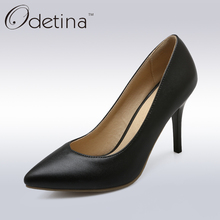 Odetina 2016 New Handmade Large Size Black Women Shoes High Heel Classic Pumps for Work Pointed Toe High Heels Pumps Thin Heels