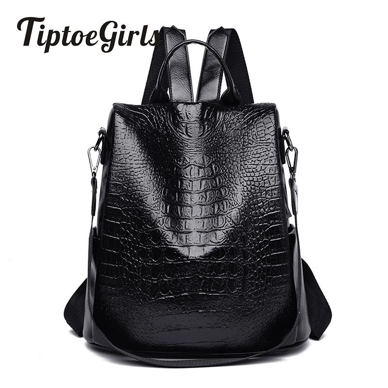 Crocodile Lady Backpack New Fashion High Quality Large Capacity Casual Wild Travel Backpack