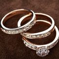USTYLE Hot sale Christmas gift  Gold Plated 3 IN 1 Cubic Zirconia Wedding Ring Set for women wholesale jewelry UR0773