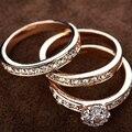 USTYLE Hot sale presente de Natal Banhado A Ouro 3 EM 1 Cubic Zirconia Wedding Ring Set para as mulheres de jóias por atacado UR0773