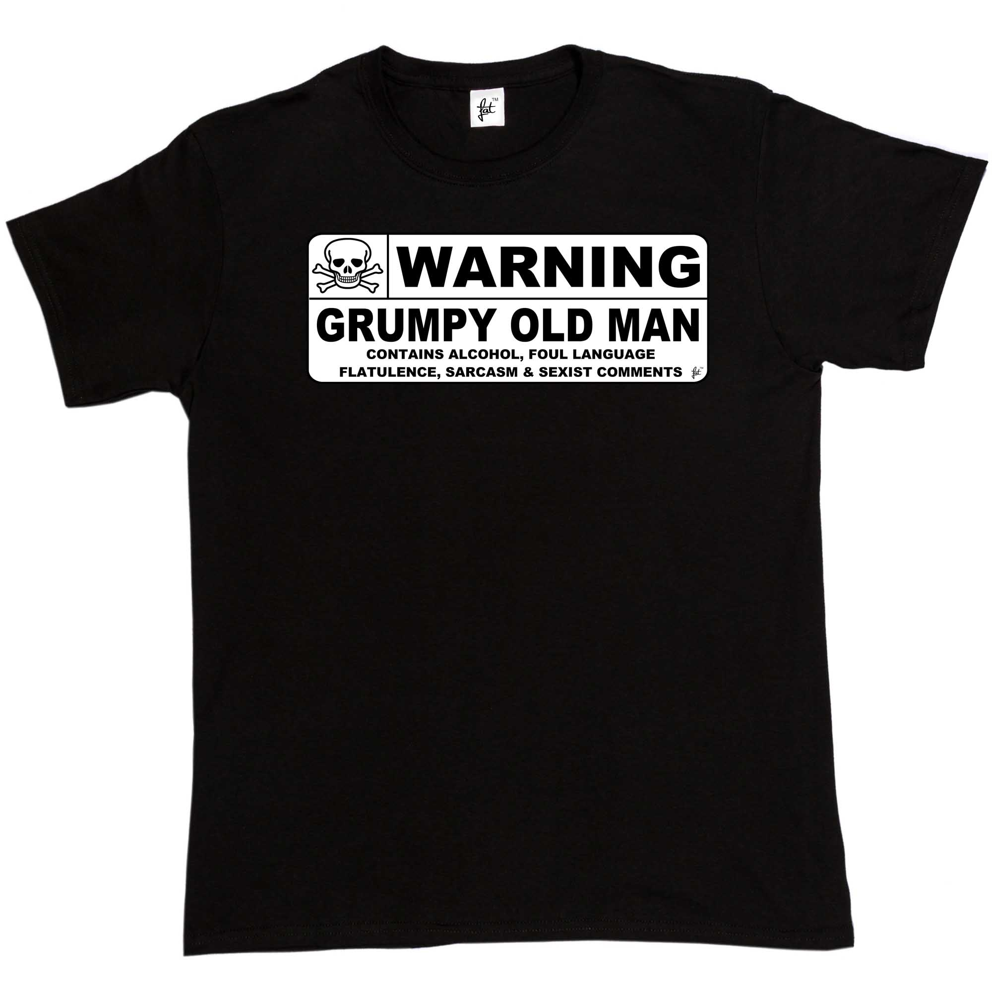 Warning Grumpy Old Man Caution Sign Fathers Day Christmas Birthday Mens T-Shirt Pure Cotton Round Collar Men top tee