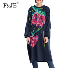 F&je New 2017 Spring Women's Retro Printed Large Size Long Dress Femme Casual Loose Clothing Women Plus Size Loose Dresses J001
