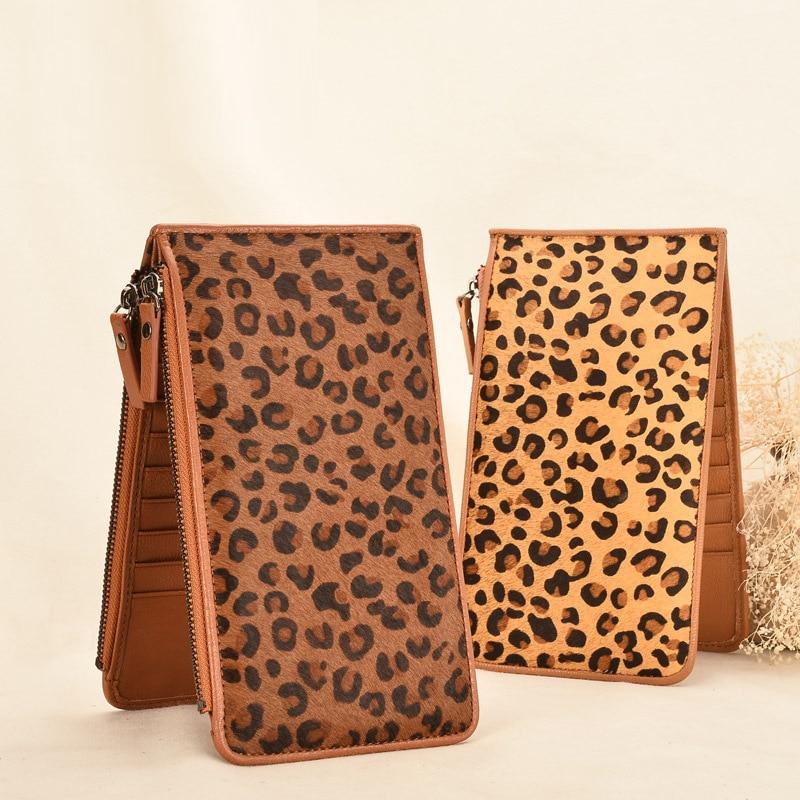 Designer Leopard Real Cow Genuine Leather Vintage Business ID Credit Card Holder Case Slot Women Purse Slim Organizer Wallet