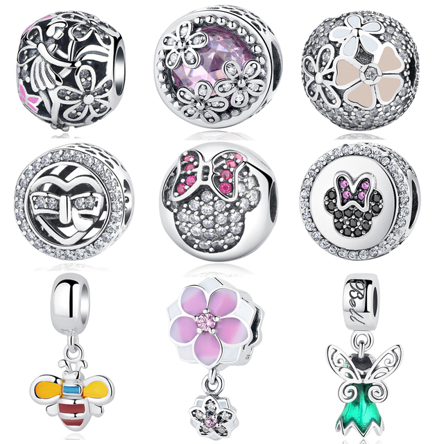 Original 925 Sterling Silver Beads Pink Glaze Butterfly Dragonfly Blooms Bow Crystal Bead Fit Pandora Bracelets DIY Charms