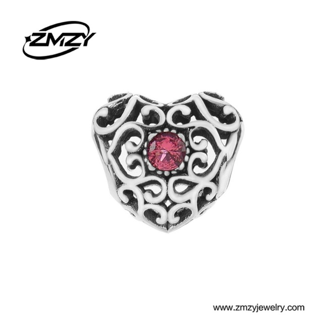 Zmzy Jewelry July 925 Sterling Silver Heart Birthstone Charms Beads