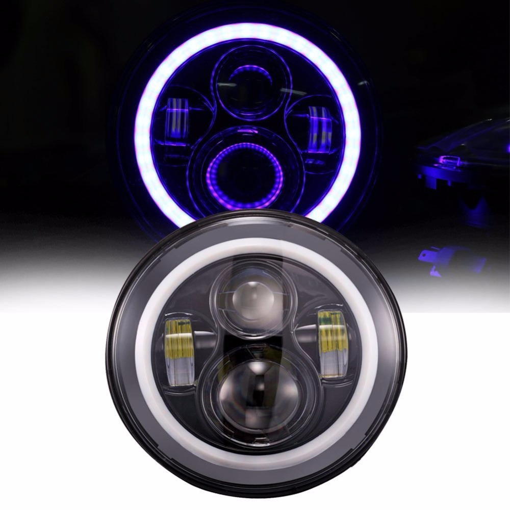 7 inch Round Blue Halo Ring Angle Eye DRL LED Headlights Daymaker Driving Lamp For Harley Davidson Motorcycle