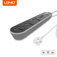 LDNIO 3 Ports 5V 3 1A Black Travel Desktop Charger Adapter EU US UK Plug Socket