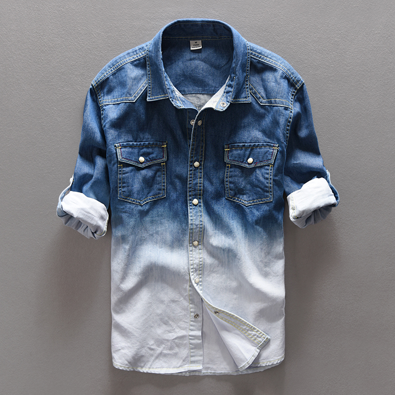 100% Cotton Gradient Blue Jeans shirt lelaki fashion Unik personaliti denim shirt lelaki Spring long shirts mens camisa masculina