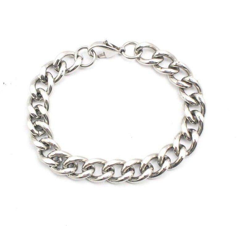 hot- Silver Plated Lobster Clasp Link Bracelets Chain Bracelet Top selling 316L stainless steel bracelet 22.5cm (8-9)
