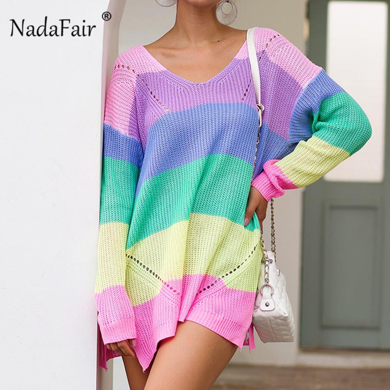 Nadafair Colorful Patchwork Loose Split Oversized Sweaters Women 2019 Winter Autumn Long Sweater Pullover Female Jumper Rainbow