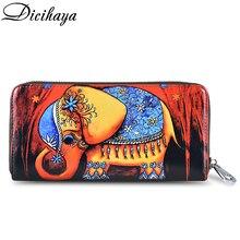 Dicihaya mulheres longas carteiras de impressão bolsa de moedas de couro senhora moneybags meninas estudantes bolsas embreagem carteira cartões titular sacos