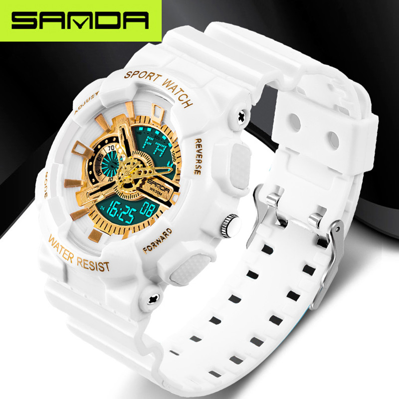 New brand SANDA fashion watch men's LED digital watch G outdoor multi-function waterproof military sports watch relojes hombre