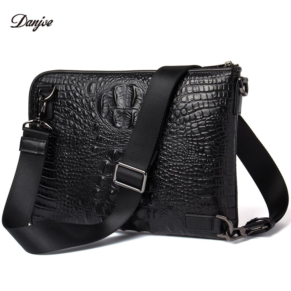 DANJUE Men Messenger Bag Genuine Leather Daily Clutches Bag Male Crocodile  Grain Handy Bag Leisure Black 0b8326d5e6175