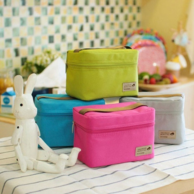 Hoomall Portable Insulated Canvas Lunch Bag Thermal Food Picnic Lunch Bags For Women kids Men Cooler Lunch Box Bag 17x11x12cm