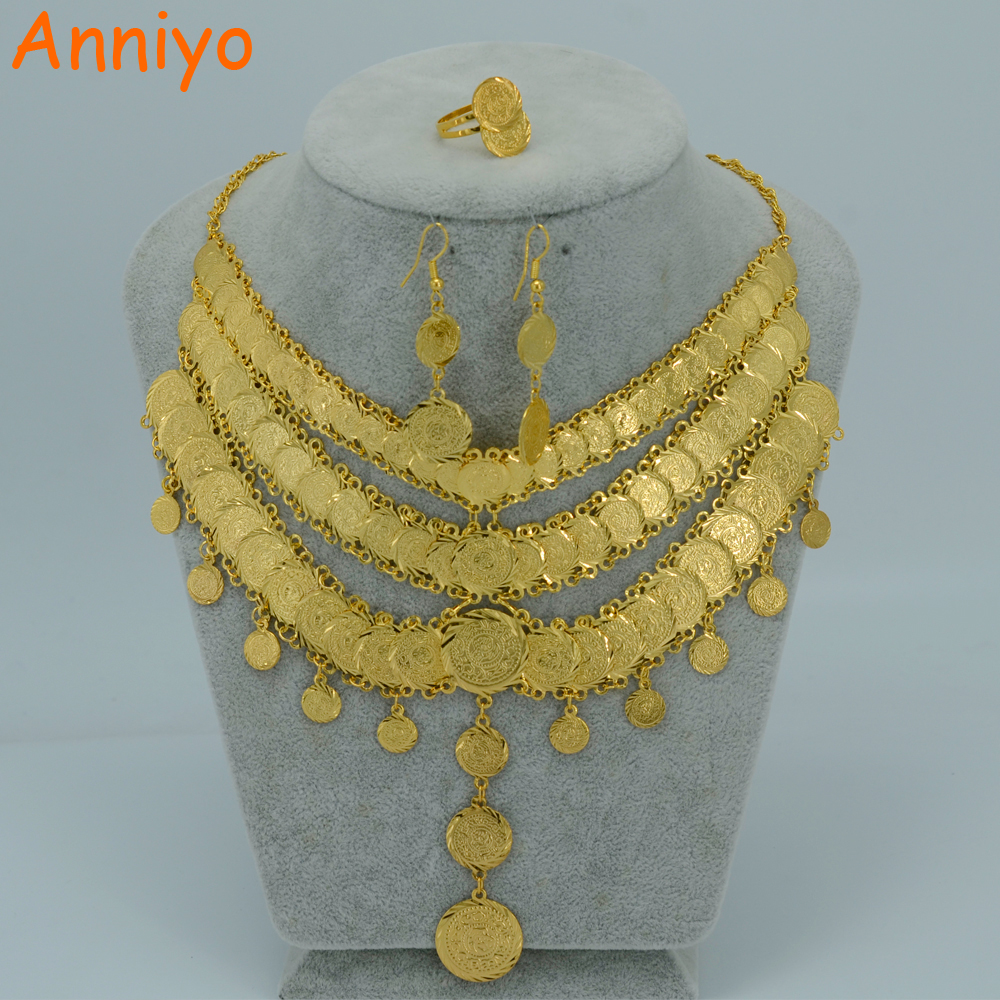 Anniyo Arab Bride Coin Set Jewelry Necklace Earring Ring