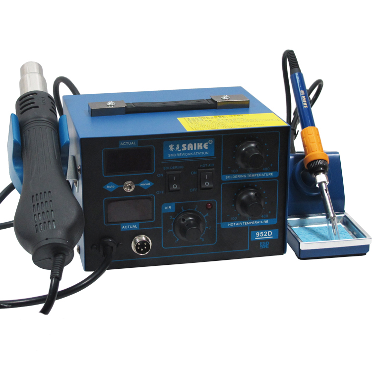 Free Ship 220V/110V Saike 952D 2in1 Digital Heat Hot Air Gun Rework Station Soldering Station Soldering Iron+Hot Air Gun atten 2in1 at8502d lead free soldering station smd rework station hot air gun