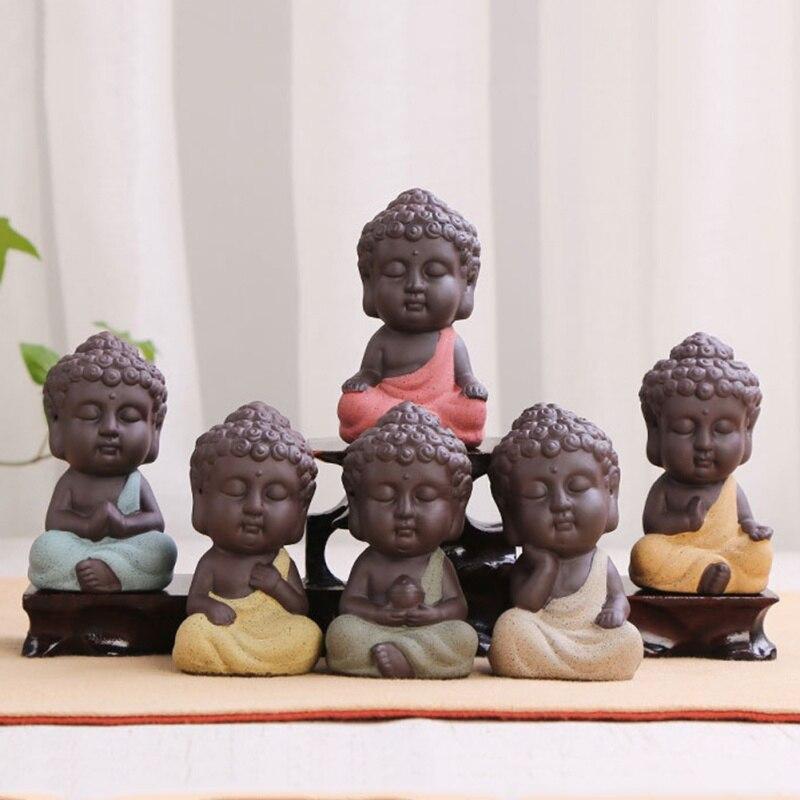 Mini Ceramic Buddha Statue Tea Dools Bonsai Garden Decor Monk Figurine Oriental Cultural Ornament Succulent Plant