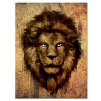 Vintage Yellow Style Lion Head Portrait Wall Art Painting Pictures Print On Canvas Animal The Picture For Modern Home Decoration