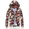 Homens do novo fundo de 2016 invernos do outono é impresso de algodão de lazer da moda casaco com capuz de cultivar a moralidade