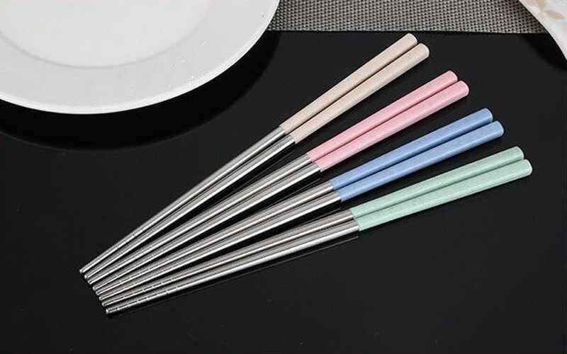 Palillos chinos de acero inoxidable 304 paja de trigo palillos de viaje portátiles palillos de comida reutilizables para comida de Sushi
