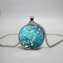 Van Gogh Apricot Oil Painting Necklace Wheat Field with Crow Sunflower Famous Art Glass Dome Pendant Jewelry