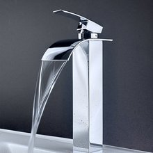 WSFS Горячие Продажи Новый Одной Ручкой Водопад Раковины Ванной Комнаты Centerset Туалете Кран Высокий Chrome