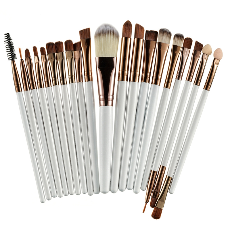 20Pcs Professional Makeup Brushes Set Powder  Eyeshadow Make Up Brushes Cosmetics Soft Synthetic Purple+Brown 5