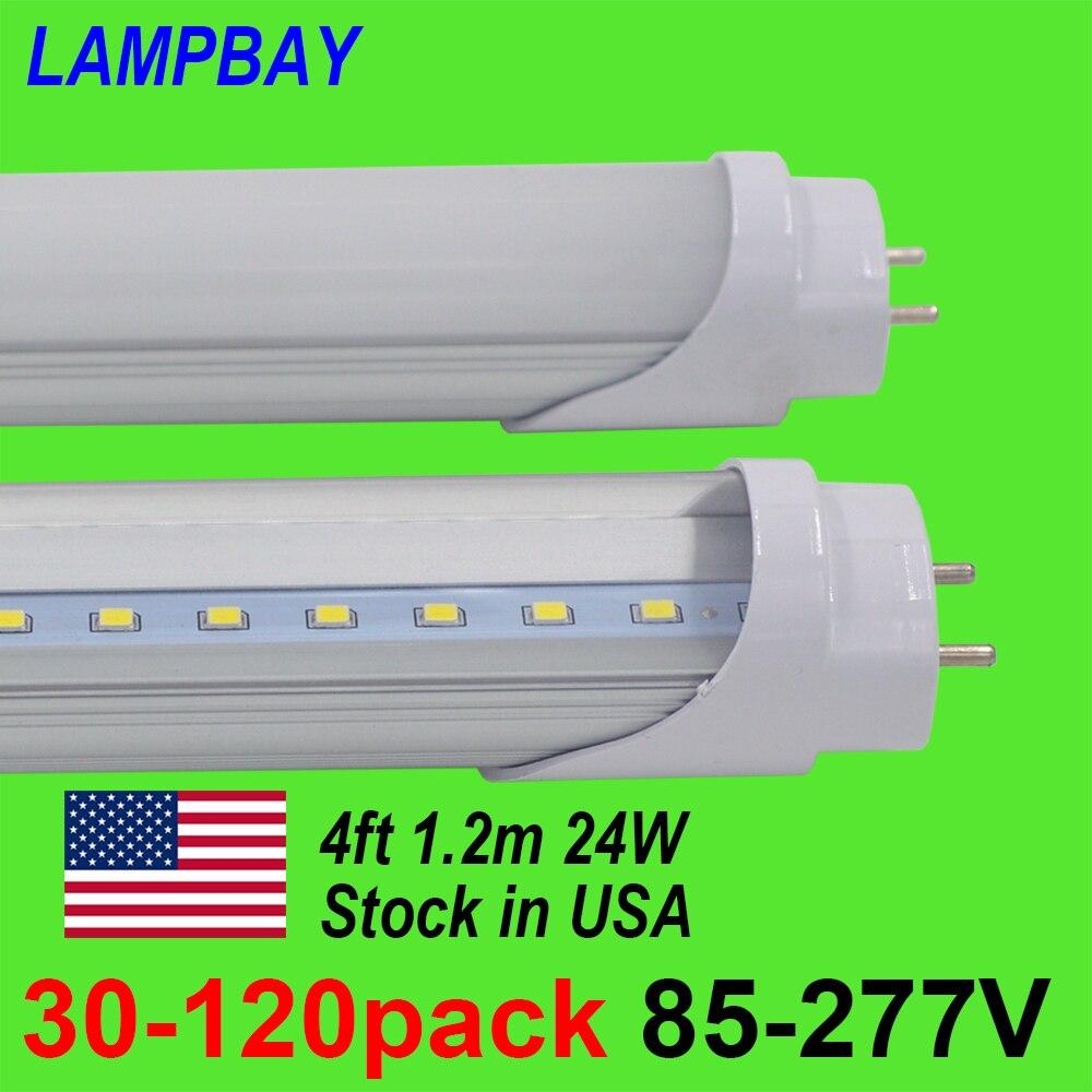 30 120 шт. светодиодный трубки, лампы 4ft 120 см 24 Вт T8 G13 Bi pin люминесцентная лампа 4 ноги 48 бар модернизации огни 110 В 277 В складе в США нет налога