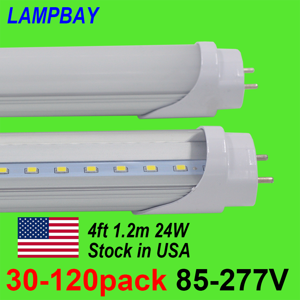30-120pcs LED Tube Bulb 4ft 120cm 24W T8 G13 Bi-pin Fluorescent Lamp 4 foot 48 Bar Retrofit Lights 110V-277V Stock in US No Tax цена