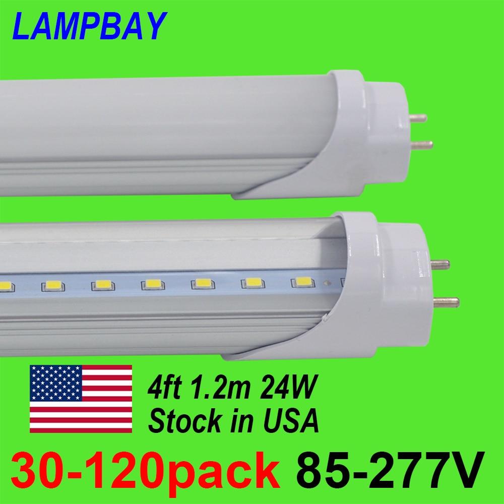 30-120pcs LED Tube Bulb 4ft 120cm 24W T8 G13 Bi-pin Fluorescent Lamp 4 foot 48 Bar Retrofit Lights 110V-277V Stock in US No Tax