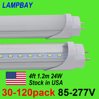 30 120pcs LED Tube Bulb 4ft 120cm 24W T8 G13 Bi pin Fluorescent Lamp 4 foot 48 Bar Retrofit Lights 110V 277V Stock in US No Tax