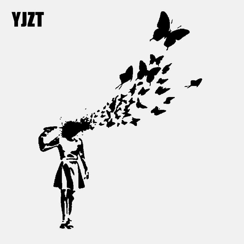 YJZT 13CM*17.3CM Banksy Suicide Girl Butterfly Vinyl Car Sticker Decal Graffiti Decor Art Black/Silver C24-0203