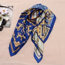 Fashion Prints 100% Silk Scarf Shawl Womens High Quality Hijab Head Scarves 88X88CM