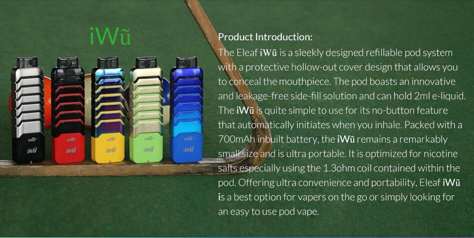 , [FR/US] Original Eleaf iWu Pod System Kit built in 700mAh battery with 2ml cartridge inhale electronic cigarette vape pen