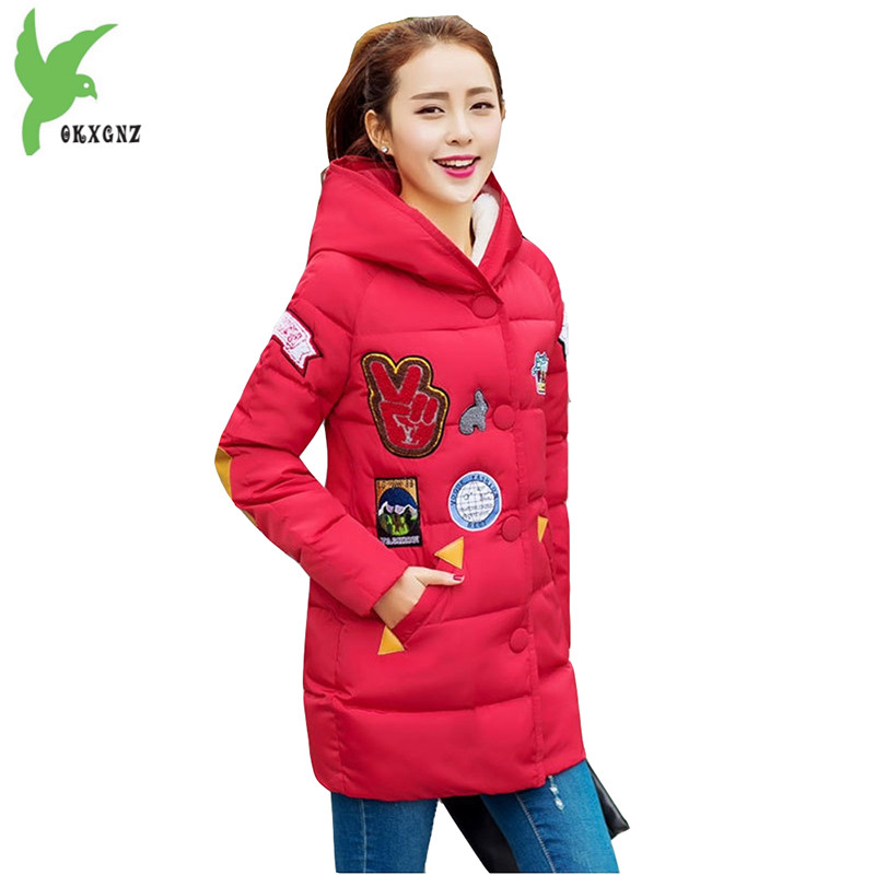 New Fashion Women Winter Down Cotton Jacket Korean Version Patch Print Student Coat Plus Size Thick Warm Slim Clothing OKXGNZ857 fundamentals of physics extended 9th edition international student version with wileyplus set