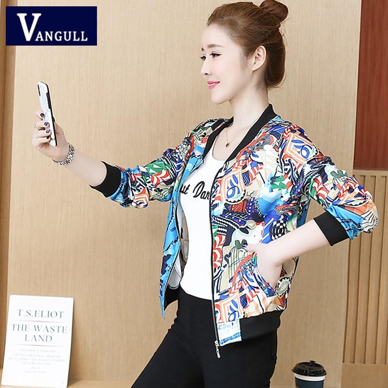 Vangull Spring Casual Women's Clothing Print Short Baseball   Basic     Jacket   Zipper Slim O-Neck Fashion Long Sleeve Female Outerwear