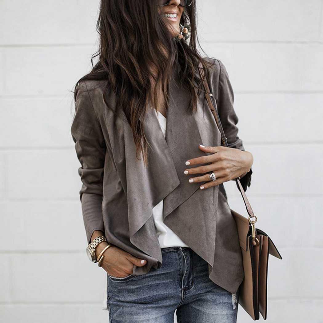 5eb30a0fc0a Модная женская куртка из искусственной замши кардиган с лацканами с длинным  рукавом необычной длины тонкое пальто