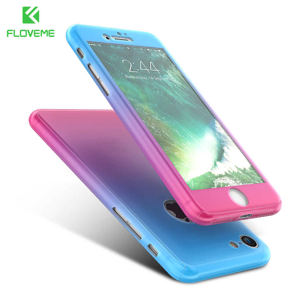 FLOVEME For iPhone 6 Case iPhone 6S 6 Plus Cover 360 Degree Full Body Cases + Tempered Glass For iPhone 7 Plus Case Accessories