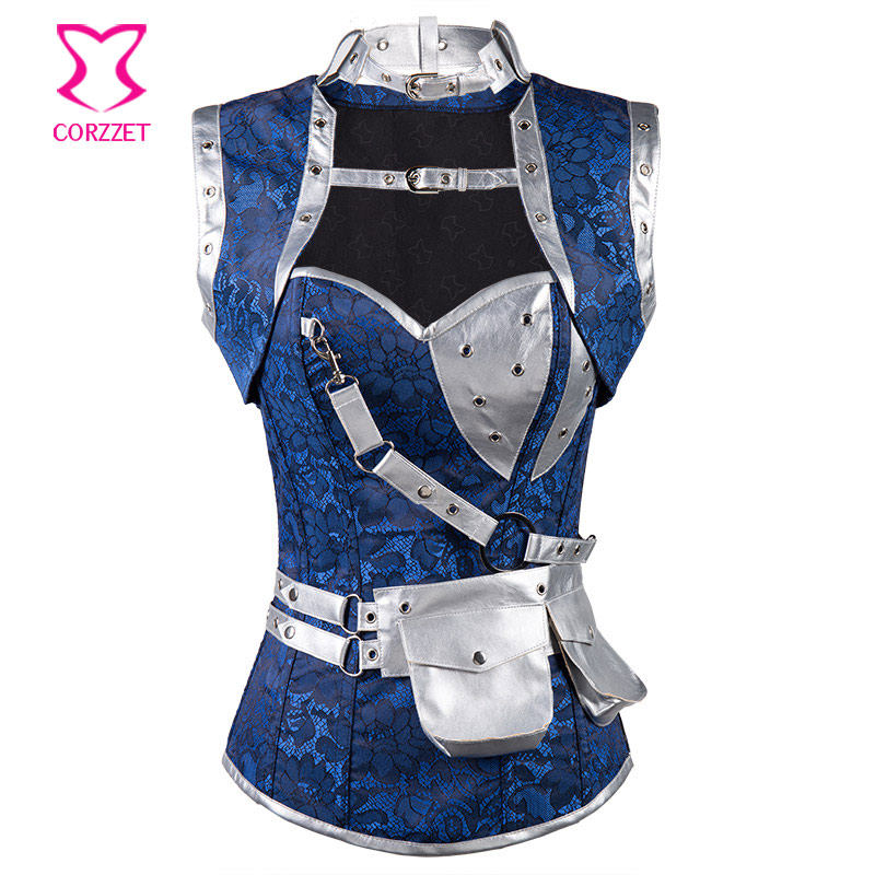 Gothic Fashion Blue Floral Jacquard & Silver PVC Leather Corset Steampunk Clothing Women Corsets and Bustiers Plus Size 6XL