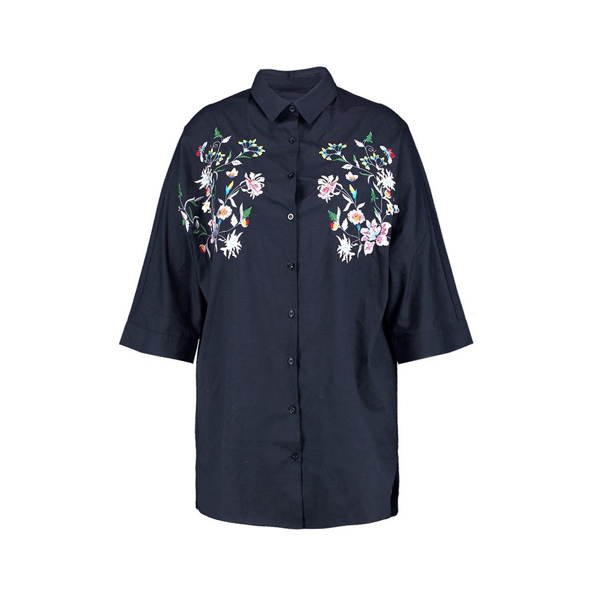 Kissmilk Women Plus Size Foral Embroidery Turn Down Collar Shirt Nine Quarter Sleeve Solid Basic Shirt Large Size Casual Shirt 5