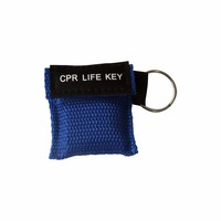 500Pcs CPR Key With Mouth To Mouth Breathing Masks Face Shield With Keychain Key Ring For First Aid Use With Blue Nylon Pouch
