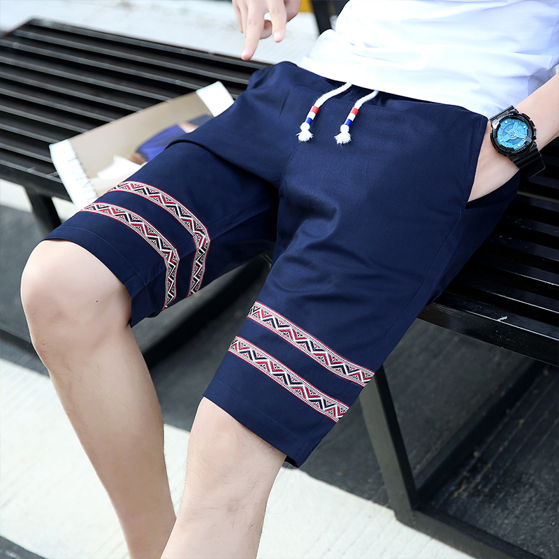 Cotton Lace-up Mens Shorts 2017 Summer New Fashion Casual Men Popular Selling Cool and Comfortable Hot Sale Size S-4XL Red Blue