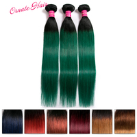 Ornate Hair Extensions Ombre Straight 100% Human Hair Bundles Brazilian Two Tone Hair Weave 1/3/4 Bundles Non Remy Hair Weft