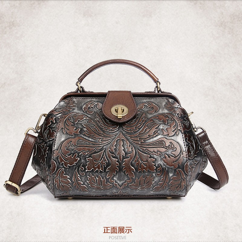 Women Genuine Leather Handbag Female Luxury Handbag Famous Brand Small Vintage Messenger Bags Floral Printing Bag with Lock luxury famous brand women handbag natural genuine leather bag vintage fashion shoulder messenger bags with three layers design
