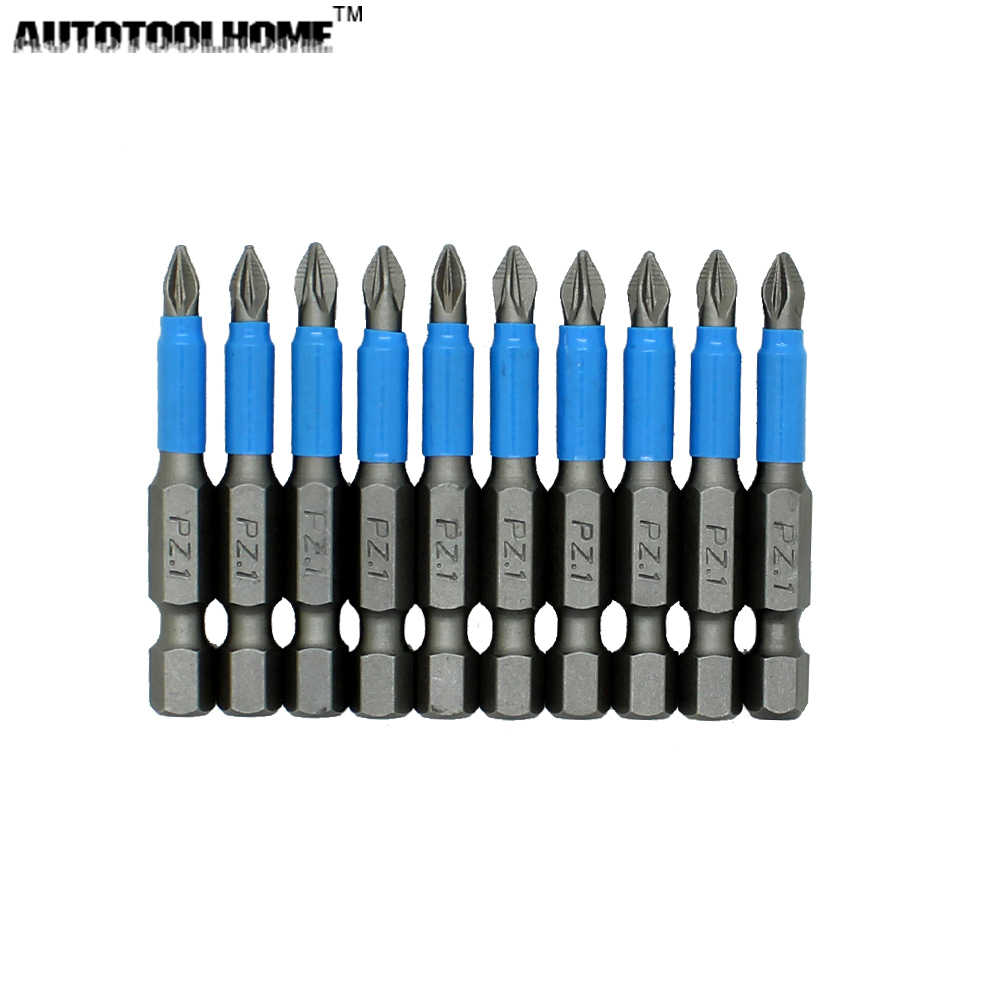 "10pc 50mm PH1 PH2 PH3 PZ1 PZ2 PZ3 Magnetic Screwdriver Bit Set 1/4"" Hex Shank Anti Slip Phillips Electric Power Tool Accessories"